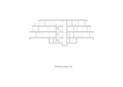 Plan 05 Mehrfamilienhaus Gatternweg, Riehen | Längsschnitt 1:200