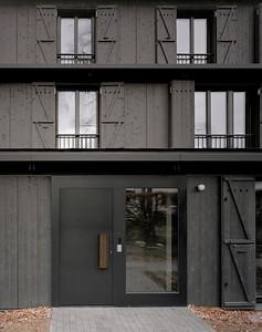 05 Mehrfamilienhaus Gatternweg, Riehen | Detailansicht Eingangsfassade