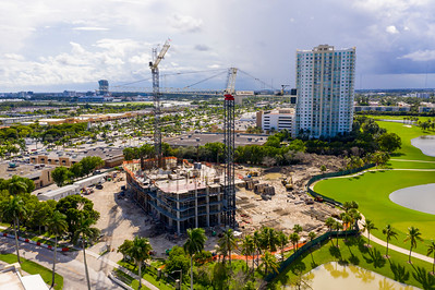 Aerial photo SLS Resort during construction stages Hallandale Beach FL USA