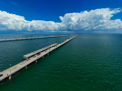 Aerial photo Tampa Bay Florida fishing bridges