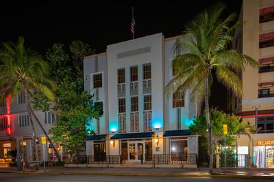 Cavalier Hotel Miami Beach Ocean Drive shot at night during Coronavirus Covid 19 shut down
