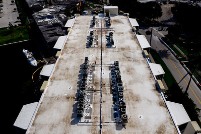 Aerial photo HVAC rooftop compressor units inspection
