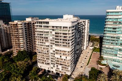 Aerial photo of Bal Harbour 101 condominium tower on the beach