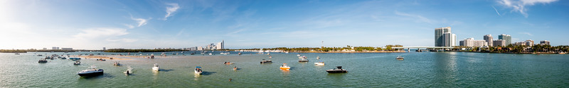 Beautiful aerial panorama Miami Beach Haulover sandbar with boats by the shallow sand