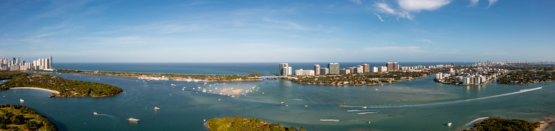 Beautiful nature landscape aerial photo Miami Beach view of inlet and sandbar