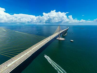 Aerial photo Sunshine Skyway cable suspended bridge suspension Tampa Bay FL USA