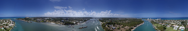 Aerial panorama Jupiter Inlet scene with lighthouse