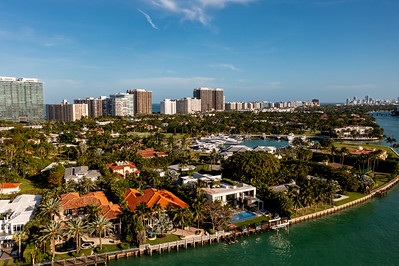 Aerial photo luxury mansion homes in Bal Harbour Florida