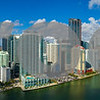 Aerial panorama Brickell Miami FL bayfront image