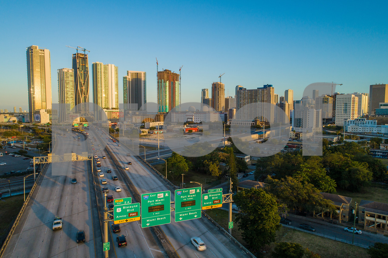 Arriving at Downtown Miami aerial image highway to city
