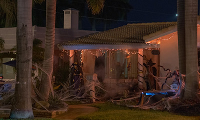 Night photo of a haunted house Halloween eve