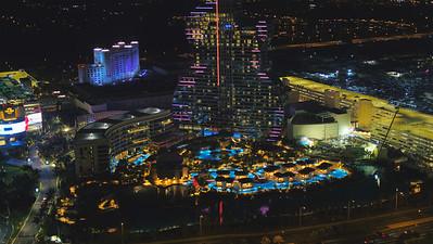 Night photo Seminole Hard Rock Hotel and Casino guitar shaped resort structure