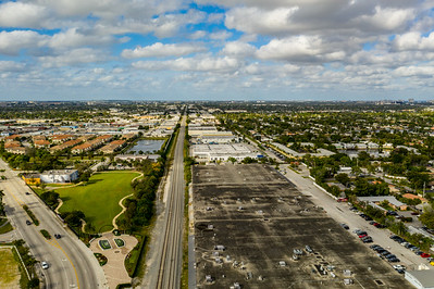 Industrial district Oakland Park FL USA warehouses and railroad tracks