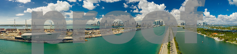 Aerial panorama Miami Port Dodge Island Macarthur Causeway