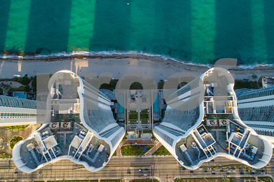 Direct overhead image highrise buildings on the beach