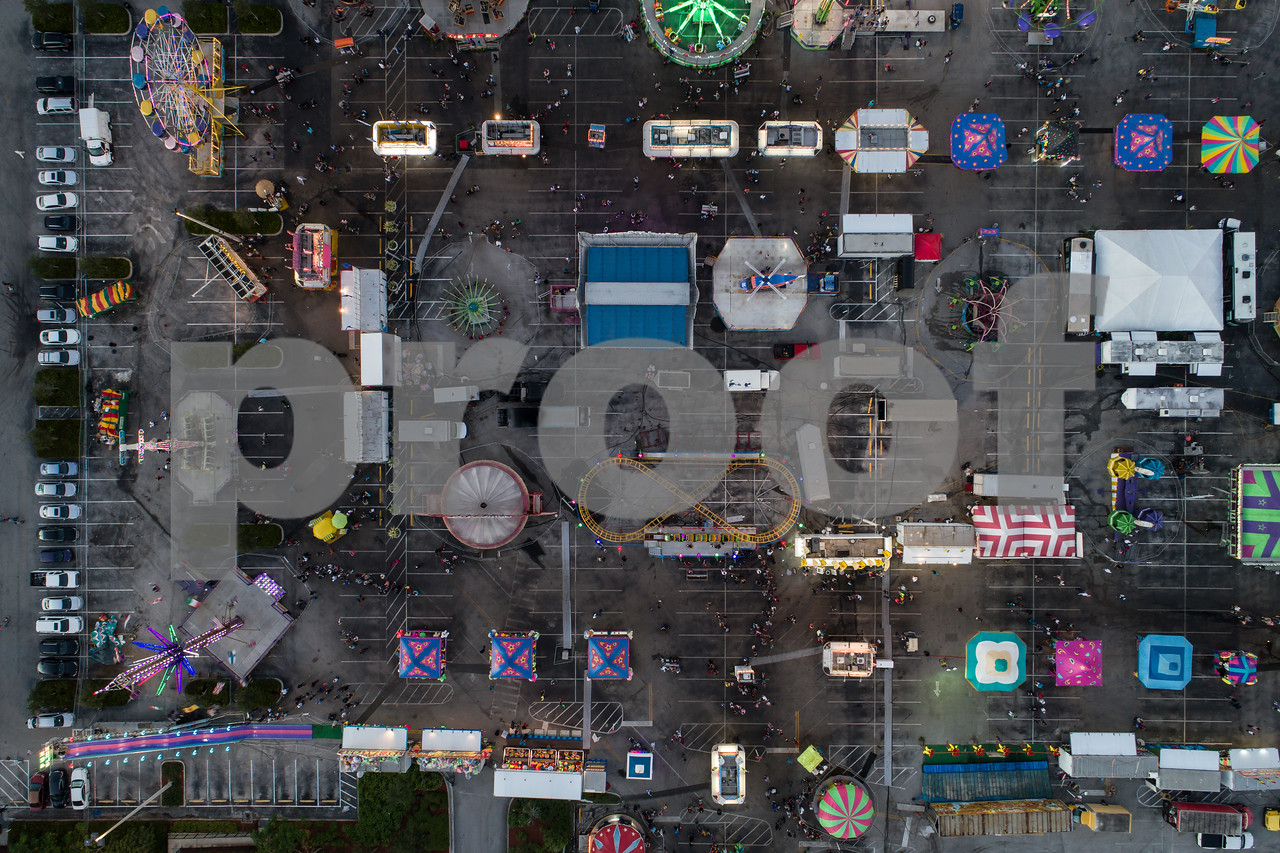 Overhead drone image of a carnival