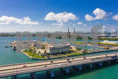 Aerial Miami Beach scene US Coast Guard base island
