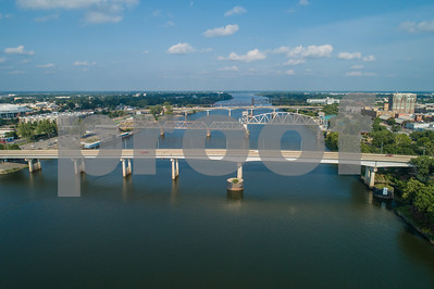 Aerial photo of bridges over the Arkansas River Little Rock