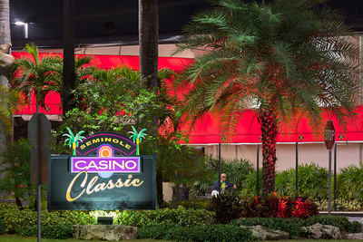 Night photo of the Seminole Casino Classic entrance sign Hollywood FL