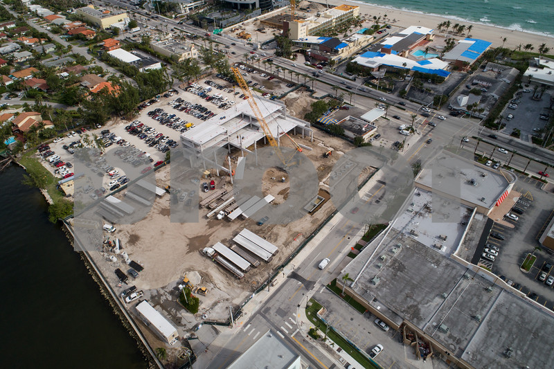 Drone image of a supermarket under construction in Sunny Isles Beach FL Publix