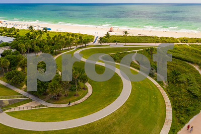 Aerial drone photography Miami Beach South Pointe Park Florida