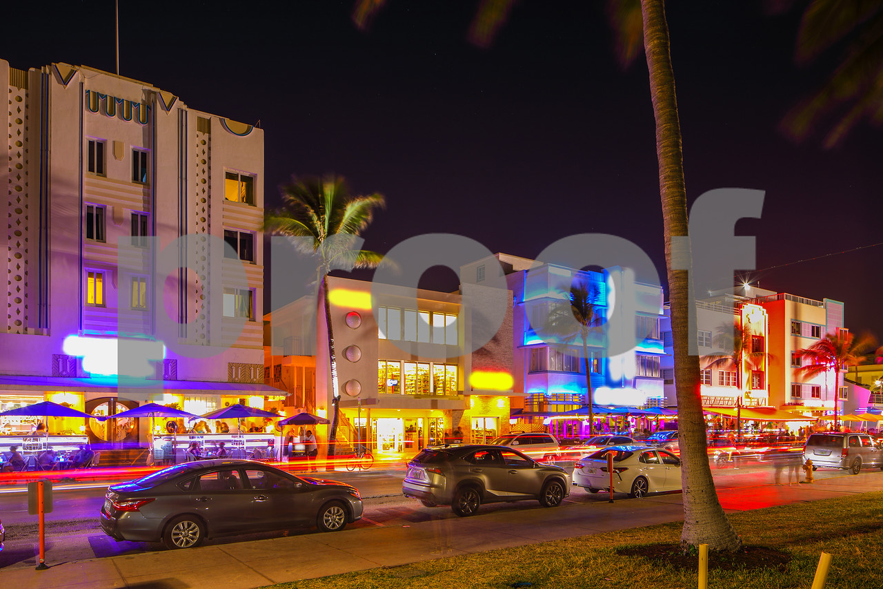 Night photo Ocean Drive tourist destination Miami