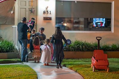 Kids getting candy Halloween holiday USA
