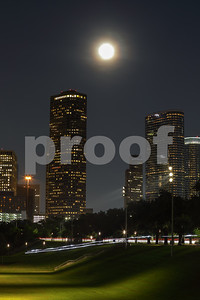 Moonlight over Downtown Houston Texas