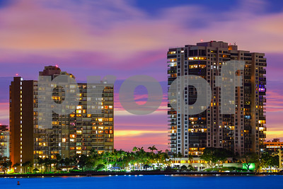 Beautiful twilight condominiums on the water bay