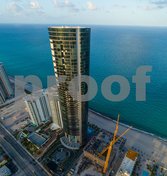 Aerial drone photo Porsche Design Tower Sunny Isles Beach FL