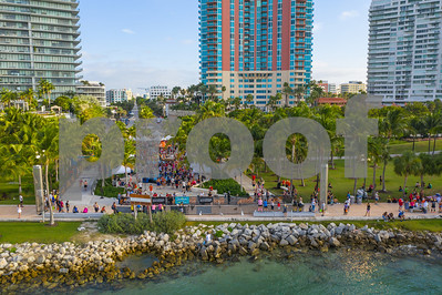 Aerial 2018 Miami Beach Half Marathon finish line South Pointe Park