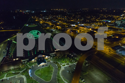 Aerial night photo Bass Pro Shops at the Pyramid Memphis Tennessee USA