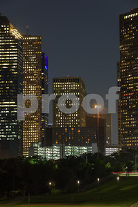 Aerial vertical ground shot of Downtown Houston Texas at night