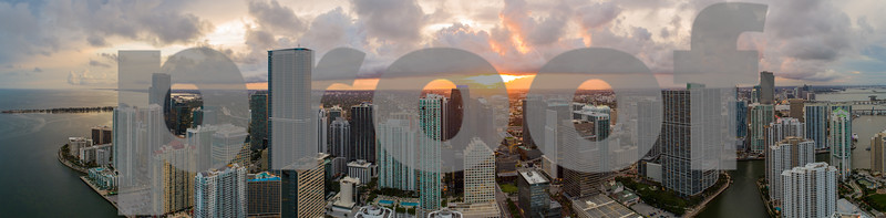 Aerial panorama Miami Brickell cityscape Sunset