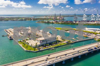 Aerial image Miami Beach US Coast guard base station