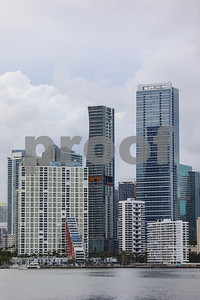 Telephoto image Brickell skyscrapers Miami