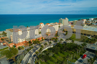 Aerial historic Hollywood Beach Resort Florida