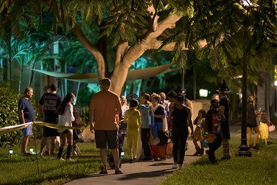 Crowds gathering to trick or treat Halloween