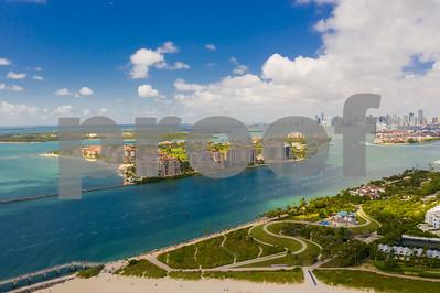 Aerial Miami Beach Fisher Island