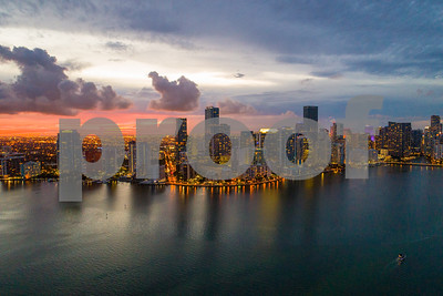 Brickell Miami after sunset aerial view