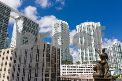 Aerial drone photo of the Pillar of History and Brickell Miami FL