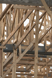 Wood beams home roof construction