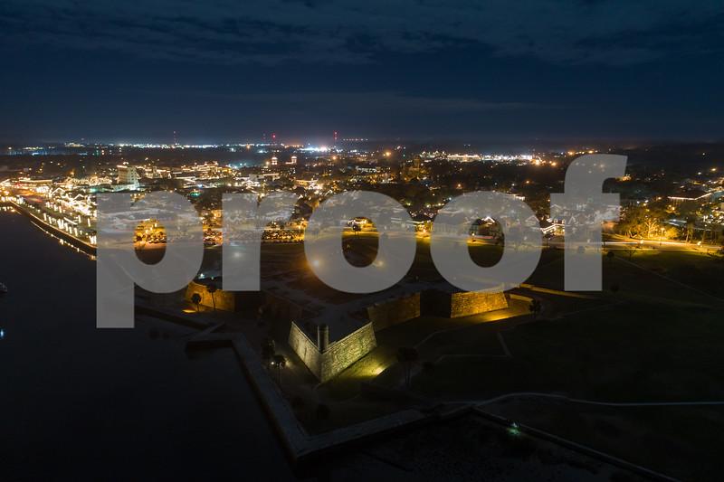 Aerial night image Castille De San Marcos St Augustine FL
