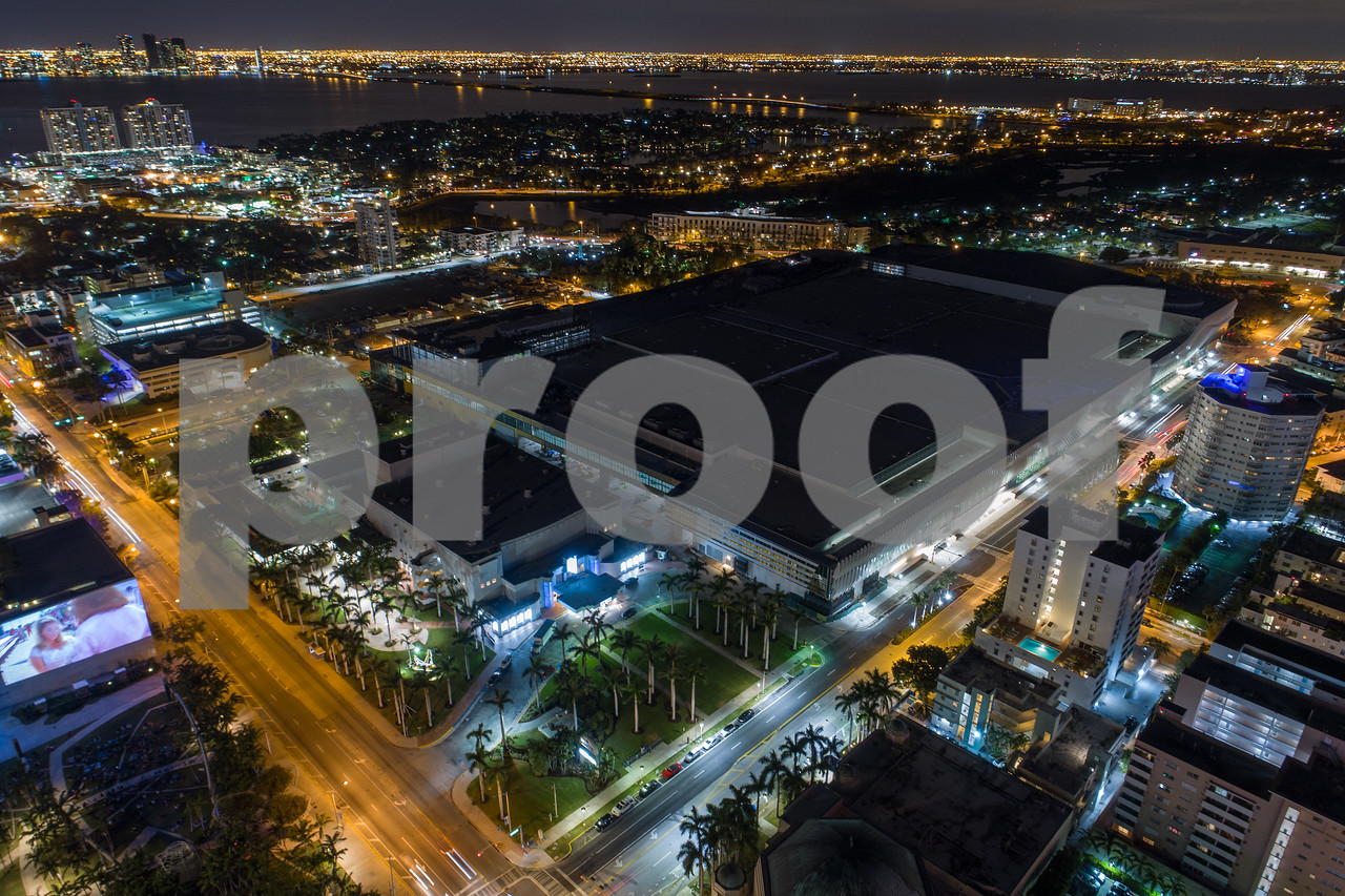 Miami Beach Convention Center aerial night image