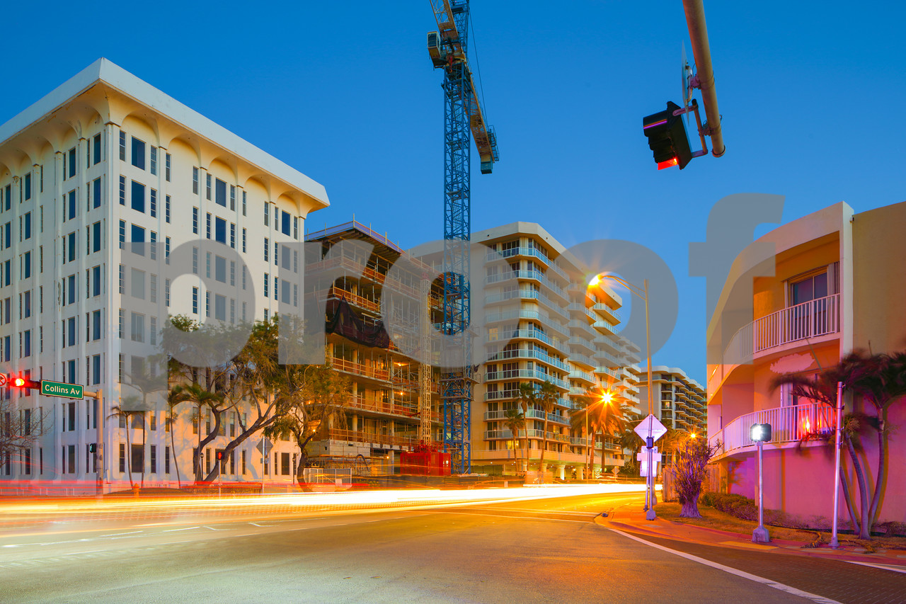 Intersection city scene Miami Beach Collins Avenue and 90th Street