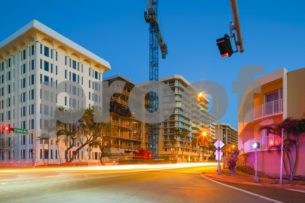Intersection city scene Miami Beach Collins Avenue and 90th Street
