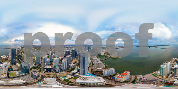 Aerial spherical panorama of Downtown Miami Brickell and bay