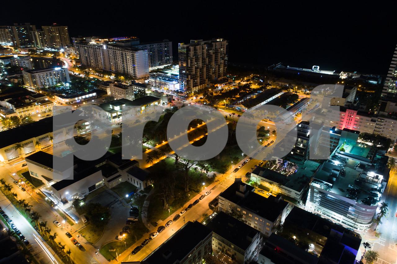 Night aerial image Collins Park Miami Beach Florida