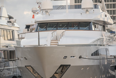 Front view of a luxury super yacht Fort Lauderdale Boat Show