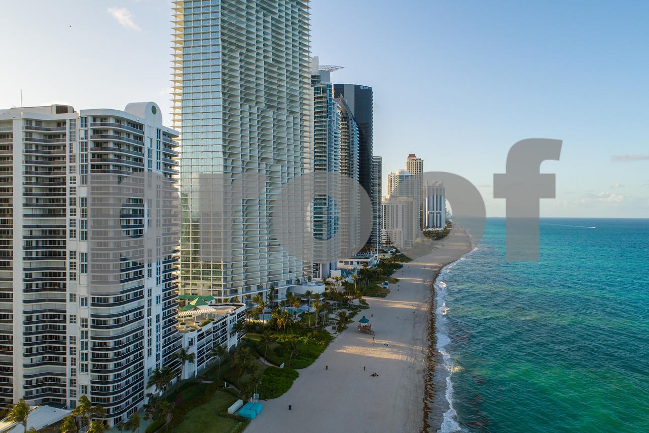 Drone above Sunny Isles Florida USA